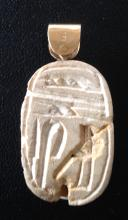EGYPTIAN SCARAB WITH GOLD MOUNT