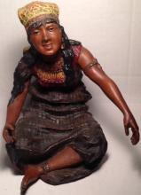 VIENNA BRONZE COLD PAINTED BRONZE SCULPTURE 'ARAB MARKET WOMAN' CIRCA 1890