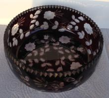 ART GLASS CENTER BOWL-BOHEMIAN RUBY CUT TO CLEAR LARGE CENTERPIECE C.1920