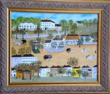 AMERICAN SOUTHERN FOLK PAINTING, 'AMERICAN TOWN', R. ROACH