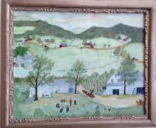 COUNTRY AMERICAN FOLK PAINTING, 'FARM LIFE', RICHARD ROACH