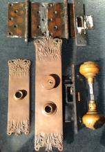 19th C.  ART NOUVEAU CAST BRONZE ARCHITECTURAL HARDWARE ENTRY DOOR SET
