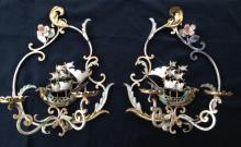 PAIR OF  WROUGHT IRON WALL SCONCES, 'SAILING SHIP WITH GOLD GILT WINGED DRAGONS', C.1920