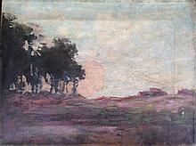 GEORGE HITCHCOCK, (AMERICAN 1850-1913) 'LANDSCAPE' OIL PAINTING
