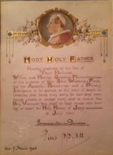 PIUS XII; POPE. DOCUMENT SIGNED, & POPE PIUS XIII , WITH VATICAN PAPAL SEAL
