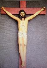 PAINTED PAPIER MACHE CRUCIFIX, H 32 1/2