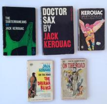 (5) JACK KEROUAC PAPERBACK BOOKS, 'ON THE ROAD', 'THE DHARMA BUMS', 'DR SAX', 'VANITY OF DULUOZ', 'SUBTERRANEANS', VARIOUS EDITIONS