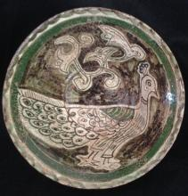 ISLAMIC FAIENCE GLAZED POTTERY BOWL, DIAMETER 8 1/2