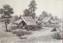 SOUTHEAST ASIAN DRAWING' THAI VILLAGE LIFE' SIGNED