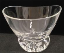 STEUBEN CRYSTAL SIGNED FOOTED CENTER BOWL