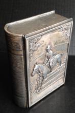 EQUESTRIAN FIGURAL BOOK BOX, JENNING BROTHERS