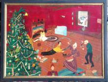 AMERCIAN SCHOOL OIL PAINTING, 'CHRISTMAS DAY', B. IRVING, C. 1950