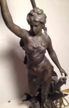 CHARLES LEVY FIGURAL SPELTER LAMP 'LA PAIX'
