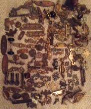 LARGE COLLECTION OF ANTIQUE FURNITURE HARDWARE: BRONZE, BRASS, IRON & GLASS (approx. 80 +)