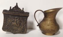 SOUTHEAST ASIAN COVERED HOLDER WITH HORSE & SMALL PITCHER