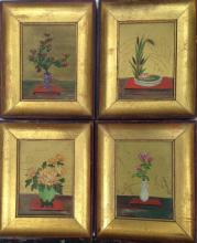 (4) JAPANESE OIL PAINTINGS, 'FLOWERS', SIGNED, CIRCA 1950