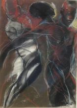 AFRICAN/AMERICAN ABSTRACTION 'DANCERS', RALPH DOWNS, 1982