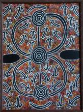 AUSTRALIAN ABORIGINAL PAINTING ' CEREMONIAL SPIRITS ' FROM THE DESERT
