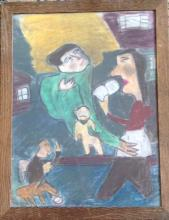 OUTSIDER SURREALIST PAINTING, 'FAMILY', C.1940