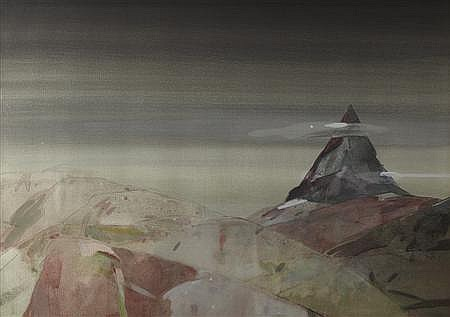 § GORDON BRYCE R.S.A., R.S.W. (SCOTTISH B.1943) BEN STACK, SUTHERLAND 51cm x 71cm (20in x 28in)