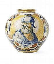 ITALIAN MAIOLICA JAR CIRCA 1565, PROBABLY WORKSHOP OF DOMENEGO DA VENEZIA 26.5cm diam, 26cm high