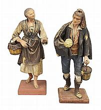 TWO NEOPOLITAN POLYCHROME, CARVED WOOD AND COMPOSITE CRECHE FIGURES 19TH CENTURY 34cm high