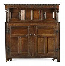 CHARLES II CARVED OAK CUPBOARD 17TH CENTURY 159cm wide, 165cm high, 61cm deep