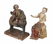 TWO SPANISH COLONIAL POLYCHROME CARVED FIGURES 18TH CENTURY Tallest 24cm high