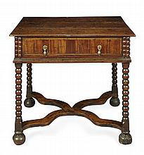 WILLIAM AND MARY OAK AND WALNUT SIDE TABLE LATE 17TH CENTURY 79cm wide, 73cm high, 58cm deep