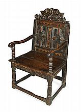 SCOTTISH OAK AND FRUITWOOD PANEL ARMCHAIR MID 17TH CENTURY 64cm wide, 100cm high, 54cm deep