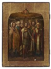 LARGE RUSSIAN ICON OF ALEXANDER NEVSKY WITH SAINTS 19TH CENTURY 40cm wide, 53.5cm high