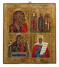 RUSSIAN ICON OF MOTHER OF GOD 19TH CENTURY 38cm wide, 43.5cm high