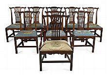 SET OF NINE GEORGE III MAHOGANY DINING CHAIRS CIRCA 1760