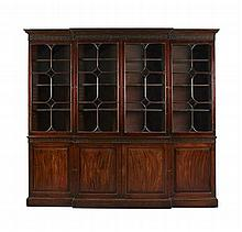 GOOD GEORGE III MAHOGANY BREAKFRONT LIBRARY BOOKCASE 18TH CENTURY 246cm wide, 231cm high, 44cm deep