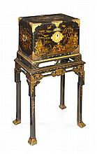 GEORGE II BLACK LACQUER CABINET ON STAND MID 18TH CENTURY, THE STAND LATER 66cm wide, 121cm high, 43cm deep