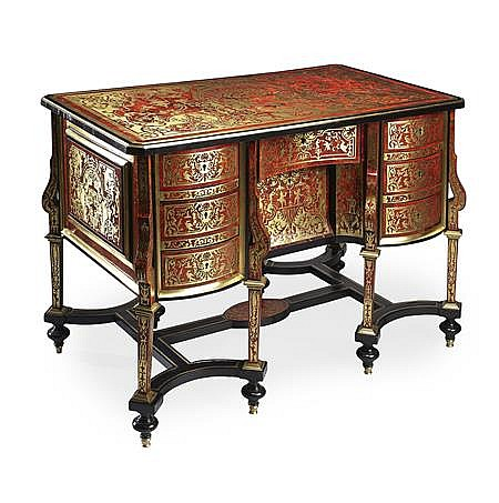 FINE LOUIS XIV BOULLE MARQUETRY AND EBONY BUREAU MAZARIN, ATTRIBUTED TO NICOLAS SAGEOT CIRCA 1700 116cm wide, 82cm high, 66cm deep