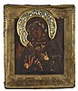 RUSSIAN ICON OF THE MOTHER OF GOD FEODORSKAYA WITH A SILVER GILT AND ENAMEL HALO 18TH / 19TH CENTURY 23cm wide, 27cm high