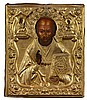 RUSSIAN ICON OF SAINT NICHOLAS, WITH A SILVER GILT OKLAD 19TH CENTURY 31cm high, 27cm high