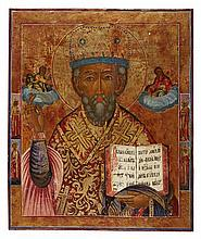 LARGE RUSSIAN ICON OF SAINT NICHOLAS OF MYRA 18TH / 19TH CENTURY 54cm high, 45cm wide