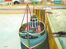 § JOHN BELLANY C.B.E, R.A., H.R.S.A. (SCOTTISH 1942-2013) SHIP IN HARBOUR 91cm x 123cm (36in x 48.5in)