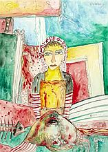 § JOHN BELLANY C.B.E., R.A., H.R.S.A. (SCOTTISH 1942-2013) WOMAN AND STINGRAY 75cm x 54cm (29.5in x 21in)