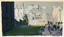 § EDWIN LA DELL (BRITISH 1919-1970) KING'S PARADE, CAMBRIDGE 37cm x 64cm (14.5in x 25in)
