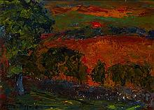 § SIR WILLIAM MACTAGGART P.R.S.A., R.A., R.S.W. (SCOTTISH 1903-1981) SUNSET 28cm x 40cm (11in x 15.75in)