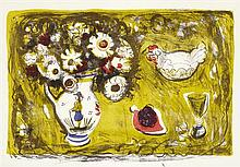 § ANNE REDPATH O.B.E., A.R.A., R.S.A. (SCOTTISH 1895-1965) STILL LIFE WITH HEN 47cm x 67cm (18.5in x 26.5in)