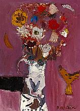 § DAVID MCCLURE R.S.A., R.S.W (SCOTTISH 1926-1998) STILL LIFE FLOWERS AND COCK 30.5cm x 23cm (12in x 9in)