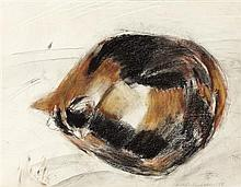 § ELIZABETH VIOLET BLACKADDER D.B.E., R.A., R.S.A., R.S.W., R.G.I., D.LITT (SCOTTISH B.1931) SLEEPING CAT 28cm x 36cm (11in x 14in)