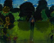 § JOHN HOUSTON O.B.E., R.S.A., R.S.W., R.G.I. (SCOTTISH 1930-2008) ELIZABETH IN THE GARDEN 40cm x 50cm (15.5in x 19.5in)