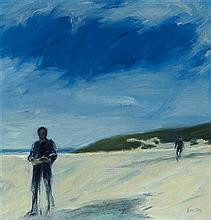 § JOHN HOUSTON O.B.E., R.S.A., R.S.W., R.G.I. (SCOTTISH 1930-2008) A BEACH 39cm x 39cm (15in x 15in)