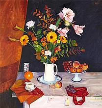 § NORMAN EDGAR R.G.I. (SCOTTISH B.1948) AUTUMN STILL LIFE 103cm x 98cm (40.5in x 38.5in)