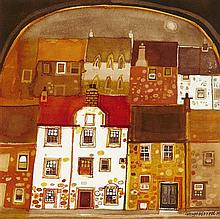 § GEORGE BIRRELL (SCOTTISH CONTEMPORARY) FIFE HOUSES, EVENING 24cm x 23cm (9.5in x 9in)
